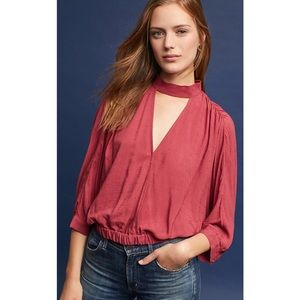 Anthropologie Maeve Surplice Cut Out Top